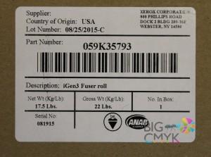 Вал нагревательный фьюзера в сборе Xerox IGEN3
